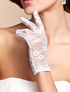 cheap Top Sellers-Lace Polyester Wrist Length Glove Classical Bridal Gloves With Solid