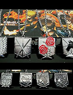 billige Anime cosplay-Smykker Inspirert av Attack on Titan Eren Jager Anime Cosplay-tilbehør Halskjeder Legering Herre