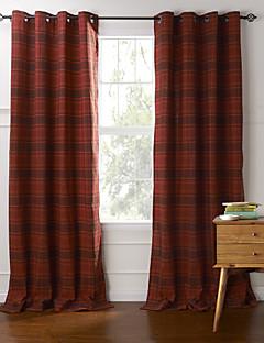 billige Gardiner-To paneler Window Treatment Land , Pledd / Tern Soverom Bomull Materiale gardiner gardiner Hjem Dekor For Vindu