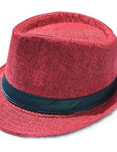 baratos Ponta de Estoque-Homens Vintage De Palha / Chapéu de sol Sólido