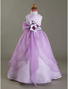 A-Line Ball Gown Princess Floor Length Flower Girl Dress - Satin Sleeveless Bateau Neck by LAN TING BRIDE®