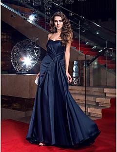 Tubinho Decote Princesa Cauda Escova Cetim Baile de Fim de Ano Evento Formal Vestido com Drapeado Lateral de TS Couture®