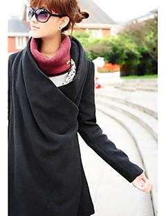 レディース カジュアル/普段着 秋 冬 コート,ストリートファッション カウルネック 純色 ロング ウール 長袖