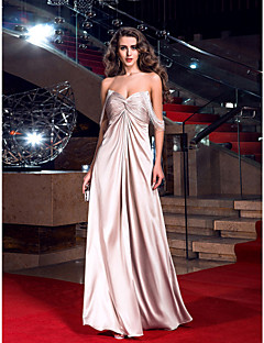 cheap Celebrity Dresses-Sheath / Column Sweetheart Floor Length Stretch Satin Prom / Formal Evening / Military Ball Dress with Crystal Detailing Criss Cross by