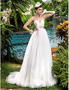 billiga Mammabrudklänningar-A-linje Hjärtformad urringning Svepsläp Spets / Tyll Bröllopsklänningar tillverkade med Rosett / Bård / Bälte / band av LAN TING BRIDE®