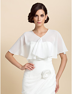 cheap Wedding Wraps-Short Sleeves Chiffon Party Evening Wedding  Wraps Capelets