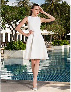 billiga Brudklänningar-A-linje Prydd med juveler Knälång Chiffong Bröllopsklänningar tillverkade med Draperad av LAN TING BRIDE®