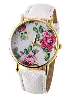 お買い得  フローラルパターン 腕時計-女性用 クォーツ カジュアルウォッチ PU バンド 花型 ブラック 白 ブルー レッド ブラウン グリーン ローズ