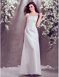 A-Line Square Neck Floor Length Taffeta Wedding Dress with Lace Sash / Ribbon by LAN TING BRIDE®
