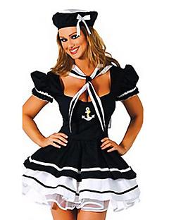 baratos Trajes da Noite das Bruxas-Legal uniforme oficial naval Preto Terylene Marinha manga curta