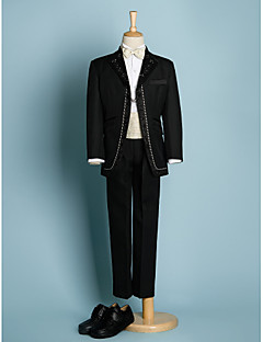 cheap Ring Bearer Suits-Black/Ivory Polyester Ring Bearer Suit - 5 Pieces