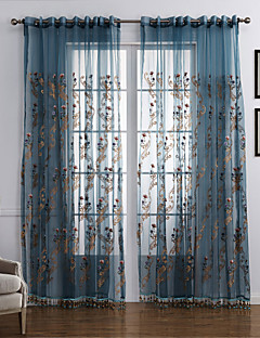 baratos Cortinas Transparentes-Sheer Curtains Shades Quarto Contemporâneo Poliéster Bordado