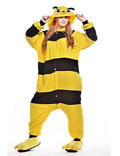 billige Kigurumi-Bie Onesie-pysjamas Polar Fleece Gul Cosplay Til Unisex Pysjamas med dyremotiv Tegnefilm Halloween Festival / høytid