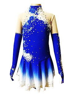 Eiskunstlaufkleid Damen Mädchen Eiskunstlaufkleider Blau Elasthan Blumen Modisch Leistung Eiskunstlaufkleidung Langarm Eislaufen