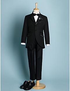 アイボリー ブラック ポリエステル リングベアラースーツ - 5 含まれています ジャケット パンツ カマーバンド シャツ 蝶ネクタイ