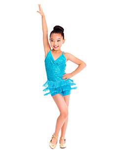 hesapli -Latin Dansı Elbiseler Kadın's Çocuklar için Eğitim Spandeks Süs Pullu Kolsuz Doğal