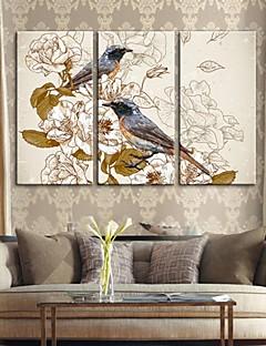 gergin tuval sanat Retro dekoratif boyama çiçekler ve kuşlar 3 set