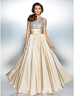 Suojus / pylväs yksi lapa lattian pituus satiininen sifonki prom mekko ja drappaus ts couture®