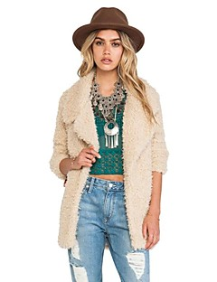 cheap Women's Furs & Leathers-Women's Street chic Coat-Solid Colored,Vintage Style