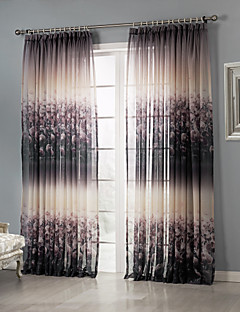 baratos Cortinas Transparentes-Sheer Curtains Shades Quarto Poliéster Estampado