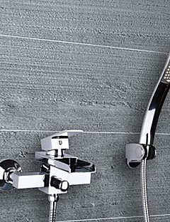 tanie Wodospad-Bateria Wannowa - Wodospad Chrom Wanna i prysznic Dwa Otwory Pojedynczy Uchwyt Dwa Otwory
