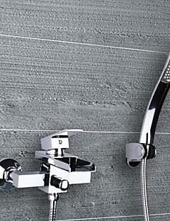 billige Foss-Moderne Badekar Og Dusj Foss Keramisk Ventil To Huller Enkelt håndtak To Huller Krom, Badekarskran