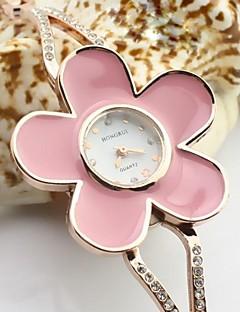 女性用 ブレスレットウォッチ 模造ダイヤモンド クォーツ 合金 バンド フラワー エレガント腕時計 ゴールド
