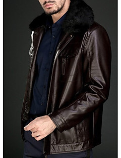 cheap Men's Furs & Leathers-Men's Classic & Timeless Pea Coat-Solid Colored Solid Color,Pure Color