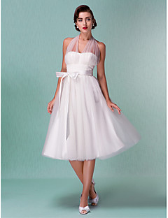 A-Line Halter Knee Length Satin Tulle Wedding Dress with Sash / Ribbon Bow by LAN TING BRIDE®