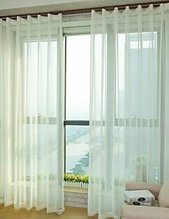 baratos Coleções de Janela-Barra no Interior Anéis Presilhas Duplo Plissado Único Plissado Dois Painéis Tratamento janela Modern, Gravado Sólido Quarto Mistura de