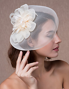 cheap Prom 2018-Crystal Fabric Organza Tiaras Fascinators Flowers Hats 1 Wedding Party / Evening Headpiece