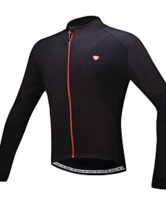 SANTIC Cycling Jersey Men's Bike Jersey Thermal / Warm Fleece Lining Breathable Polyester Solid Cycling/Bike Winter Fall/Autumn Black
