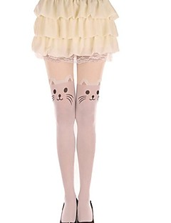 billiga Lolitamode-Lårhöga strumpor Strumpor / Strumpbyxor Söt Lolita Lolita Prinsessa Dam lolita tillbehör Djurtryck Katt Strumpbyxor Sammet