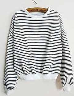 Women's Striped Micro-elastic Cotton Long Sleeve Spring Fall
