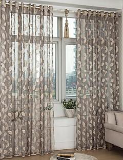 To paneler Window Treatment Neoklassisk Europeisk , Blad Soverom Polyester Materiale Gardiner Skygge Hjem Dekor For Vindu