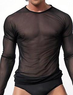 Camisola sólida sexy masculina, malha de nylon todas as épocas confortável