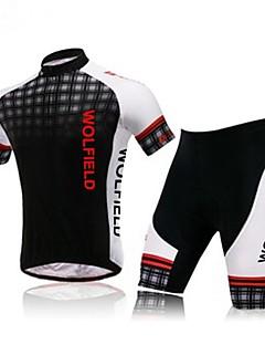 billiga Cykling-WOLFBIKE Herr Kortärmad Cykeltröja med shorts Cykel Shorts Tröja Klädesset, Andningsfunktion