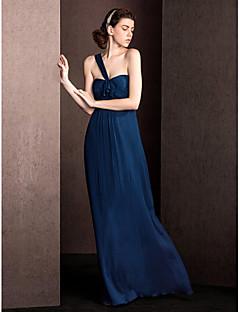 plášť / sloupek jedna délka ramenního dna délka hedvábí družička šaty s drapinkami ruching lan ting bride®