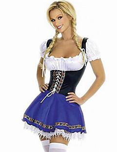 billige Halloweenkostymer-bayerske Servitør Oktoberfest Cosplay Kostumer Dame Halloween Oktoberfest Festival / høytid Halloween-kostymer Lapper Stuepike Uniform