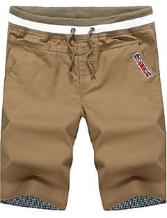 Menn Fritid / Plusstørrelse Trykk / Ensfarget Shorts,Bomull / Polyester Svart / Blå / Grønn / Hvit
