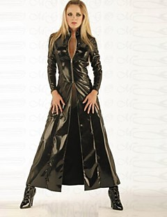 Punk Female Stage Long Sleeves Black PU Leather Cosplay Cloak