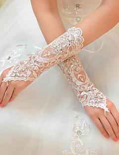رخيصةأون اكسسوارات الزفاف-تول طول الكوع قفاز قفازات العروس With حجر كريم