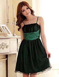 levne Krátké družičkovské šaty-princezna spaghetti pásky koleno délka saténové družičky šaty s ruchování hua cheng módy