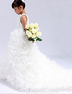 cheap Pageant Dresses-Ball Gown Cathedral Train Flower Girl Dress - Organza Sleeveless Jewel Neck with Beading by LAN TING Express
