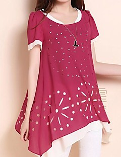 Daily Casual Spring Summer Blouse,Print Round Neck Short Sleeves Medium