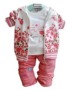 billige Babytøj-Tøjsæt Blomstret Forår Efterår Langærmet Rosa Fuchsia