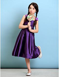 tanie Ubiór ślubny dla dzieci-Krój A / Księżniczka Cienkie ramiączka Do kolan Tafta Sukienka dla młodszej druhny z Krzyżowe / Kwiat przez LAN TING BRIDE® / Naturalny
