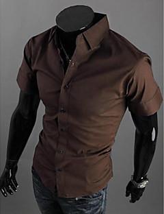 billige Herremote og klær-Bomull Tynn Klassisk krage Store størrelser Skjorte - Ensfarget Forretning Helg Herre