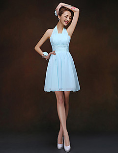 Sheath / Column Halter Short / Mini Chiffon Bridesmaid Dress with Ruching by LAN TING BRIDE®