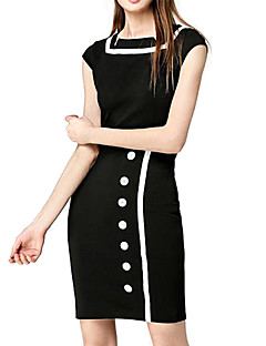 Women's Work Vintage Casual Sheath Dress,Color Block Boat Neck Knee-length Short Sleeves Summer Mid Rise Micro-elastic Thin